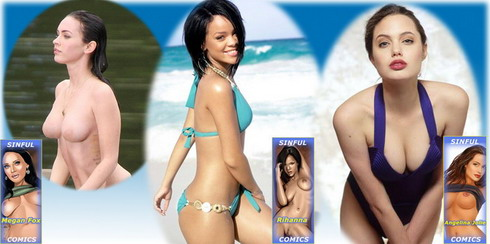 3 sexy icons for celebs lovers! - Adult Comics Angelina Jolie Celeb Brunette Megan Fox Rihanna